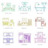 Home rooms interior in linear style. Vector icons Royalty Free Stock Photo