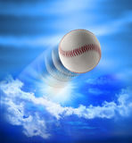 Home Run Baseball. A baseball flying through the sky after being hit for a homerun stock photos