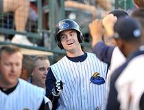 Home run congratulations - baseball Stock Image
