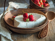 Home rustic cottage cheese with strawberries Royalty Free Stock Photos