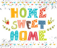 home sötsak Affischdesign med dekorativ text Fotografering för Bildbyråer