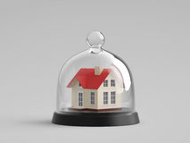 Home safety. House under glass bell jar Stock Image
