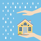 Home safety. Symbol protected from rain vector illustration Royalty Free Stock Photos