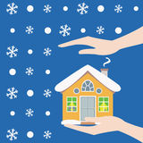 Home safety. Symbol protected from snow vector illustration vector illustration