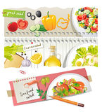 Home salads recipes. Home salads - colorful highly detailed recipes Stock Images