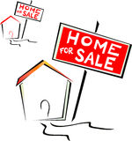 Home for sale. Illustration that represents a home for sale with the sign Home for sale. The design is very stylized and essentially created as a logo Royalty Free Stock Photography