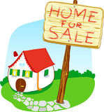 Home for sale. Vector illustration that depicts a house for sale: on a sign on top says Home for sale Royalty Free Stock Photography