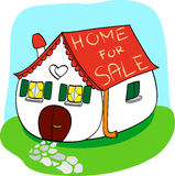 Home for sale. Vector illustration that depicts a house for sale: on the roof says Home for sale Royalty Free Stock Image