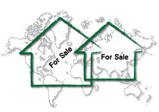 Home for sale. World map with home icon for sale Royalty Free Stock Images