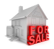 Home for sale. 3D concept isolated on white Royalty Free Stock Photos