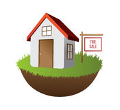 Home for sale on grass with sign vector Stock Photos