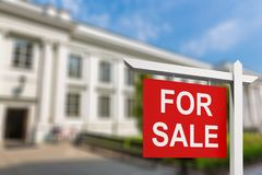Home for sale. Sign rent loan offer real real-estate royalty free stock images