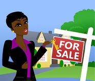 Home for Sale. Illustration of a woman displaying home decor Royalty Free Stock Image