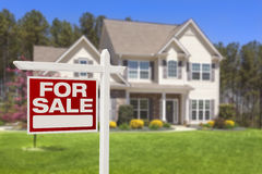 Home For Sale Real Estate Sign and House stock photography