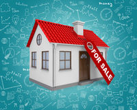 Home for sale real estate sign and small house Stock Images