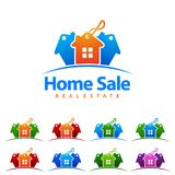 Home Sale, Real estate Vector Logo Design, Abstract Building and Home with line shape represented unique, strong and modern Real e. Real estate Marketing logo Royalty Free Stock Photos
