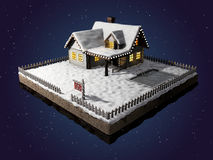 Home for sale realestate sign. Snow-covered cottage on a piece of earth. Christmas cabin at night. 3D illustration. Small clapboard siding house with snow Stock Photography