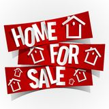 Home For Sale. On Red Banners vector illustration Royalty Free Stock Photos