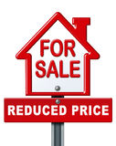 Home sale reduced price sign. Real estate symbol for a house on sale with a reduced price isolated on white royalty free illustration