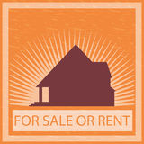 Home for sale or rent. Silhouette of home for sale or rent Stock Images