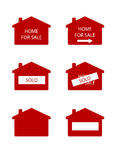 Home for sale sign. Red and white real estate sign indicating Royalty Free Stock Photos