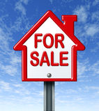Home for sale sign. With a sky background representing the concept of real estate sale of a house Stock Photo