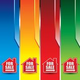 Home for sale sign on colored banners Stock Photos