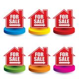 Home for sale sign on colored discs Royalty Free Illustration