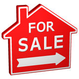 Home for sale sign. 3D rendering. Stock Photo