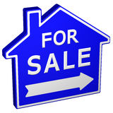 Home for sale sign. 3D rendering. Stock Photography