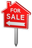 Home for sale sign. 3D rendering. Royalty Free Stock Photo