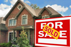 Home for sale. Sign Royalty Free Stock Image