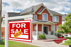 Home for sale. Sign Stock Photo