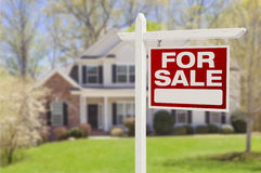 Home For Sale Sign in Front of New House Stock Photography