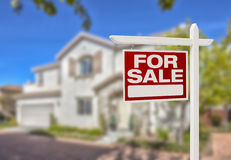 Home For Sale Sign in Front of New House Stock Images