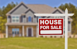 Home For Sale Sign in Front of New House Royalty Free Stock Photo