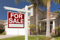 Home For Sale Sign in Front of New House Royalty Free Stock Photos