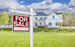 Home For Sale Sign in Front of New House Royalty Free Stock Image