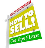 Home for Sale Sign How to Sell Advice Information royalty free illustration