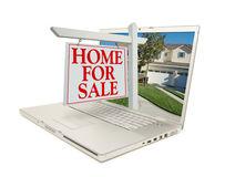 Home for Sale Sign & New Home - on Laptop Royalty Free Stock Photo