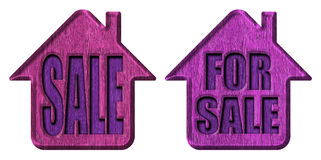 Home for sale. Wooden sign Royalty Free Stock Image