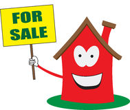 Home Sales House for Sale Vector Illustration. A bright, cheery, friendly and nice house illustration is holding a FOR SALE SIGN. Home sales concept. EPS file is stock illustration