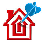 Home sales target. Home sales symbol represented by a blue dart landing on a bulls eye target that is in the shape of a house representing housing and home Stock Images