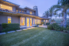 Home in San Diego shot at twilight. Outdoors in Southern California homes ready for real estate listings Royalty Free Stock Photo
