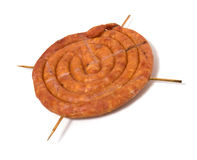 Home sausage isolated on white background. Home sausage isoladed on the white background Stock Photography