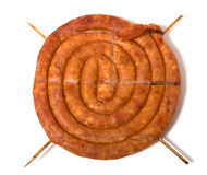 Home sausage isolated on white background. Home sausage isoladed on the white background Stock Image