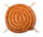 Home sausage isolated on white background Stock Photos