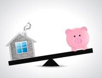 Home and savings balance illustration design Stock Photo