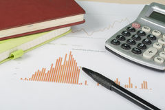 Home savings, budget concept. Chart, notepad, pen, calculator and coins on wooden office desk table. Stock Images