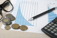 Home savings, budget concept. Chart. pen, calculator and coins on wooden office desk table. Home savings, budget concept. Chart, pen, calculator and coins on Royalty Free Stock Photography